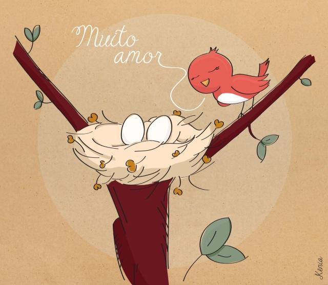 passarinho, ninho, árvore, filhote, mãe, cuidado,  ilustradora Kênia Lopes