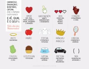 2013, criativo, design, amor, paixão, data, apelidos carinhosos, fofos, bregas, carinhosos, bonitinhos, romance, paixão, ilustradora Kênia Lopes