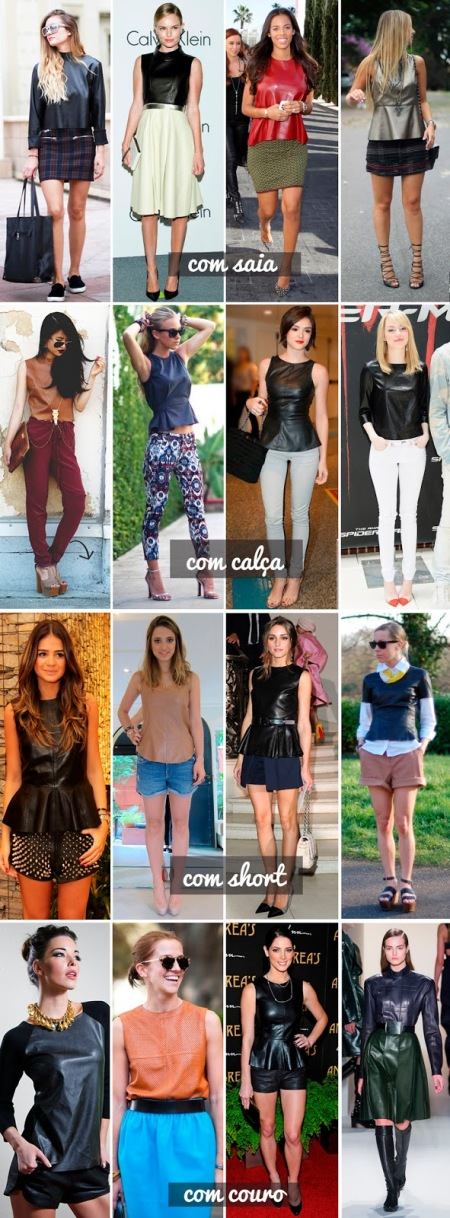 blusa de couro com short, com saia, com calça, lindo, fashion, looks, produções, leather, fashion
