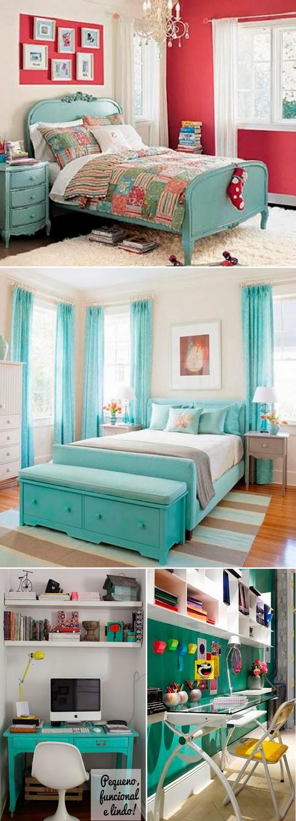 turquesa, decoração, ideias, bonito, feminino, tons claros, moderno, coral,