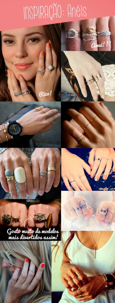mix de anéis delicados, moda, estilo, bijuteria,