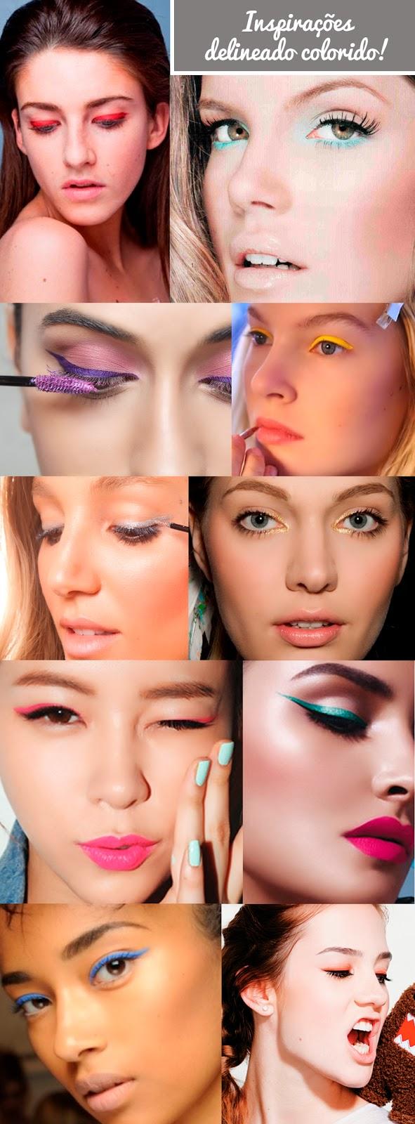 cores, azul, turquesa, dourado, rosa, prata, amarelo, roxo, laranjado, verde, olho gatinho, maquiagem, inpiração
