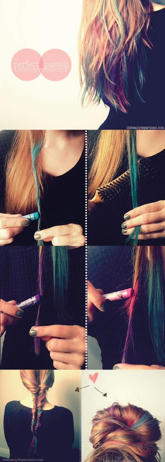 como fazer, mechas coloridas, passo a passo, cores, cabelo colorido, tons pastel