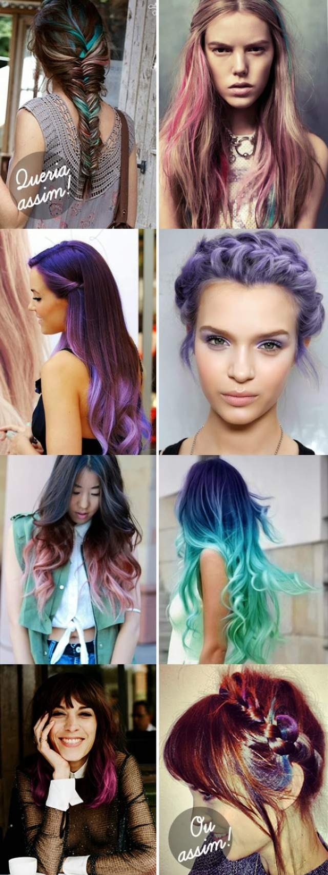 mechas, azul, rosa, hair color, exemplos, cores, cor, penteado, roxo, multicolorido