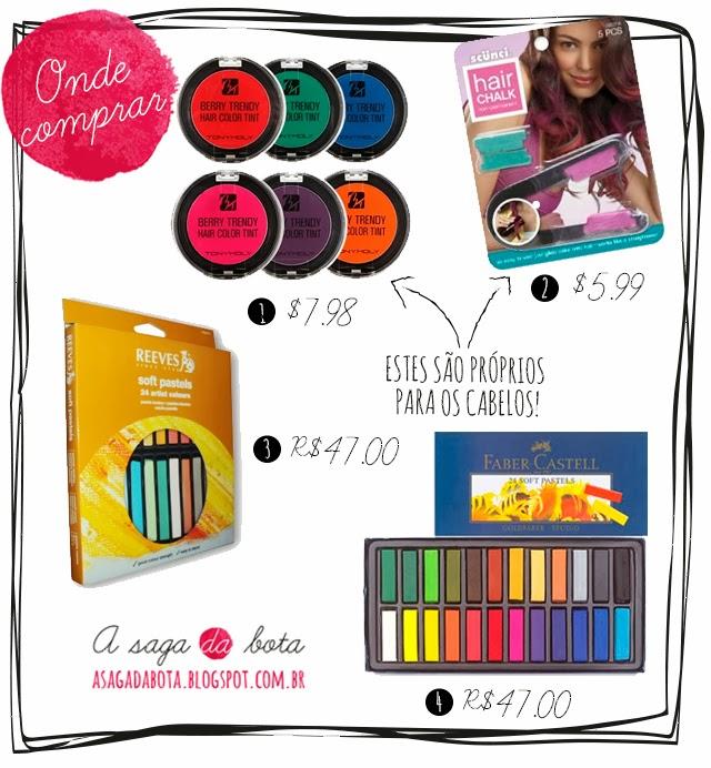 ebay, faber castel, preços, moda, estilo, hair chalk, cores, inspiração, dica