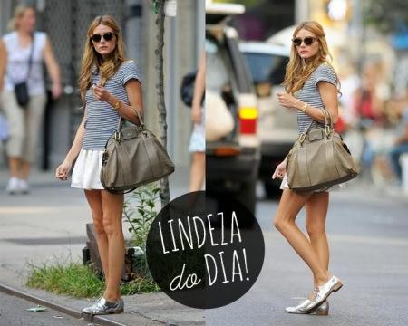 Olivia Palermo, look, oxford prata, estilo, lady, saia evasê, listras, cool