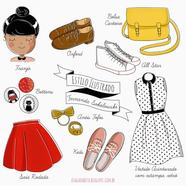 ilustração, personalizada, look blogueira, desenho fofo, illustration cute, roupas ilustradas