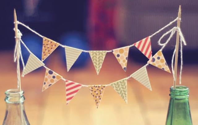 inspiração decoração festa junina, bandeirinhas, pequenas, fofo, fácil