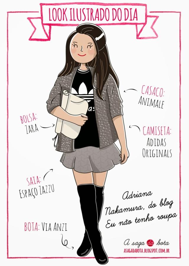 Look ilustrado. ilustração personalizada para blog, ilustradora Kênia Lopes