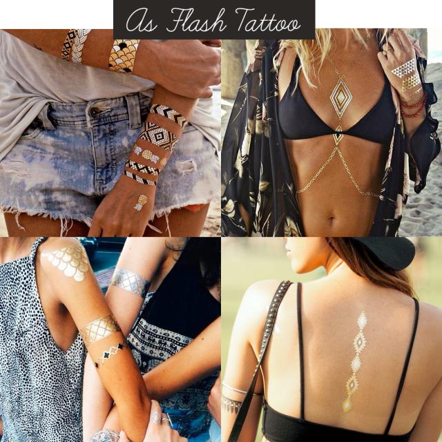 verão 2015, moda, modinha, tatuagem metálica, tatuagem dourada