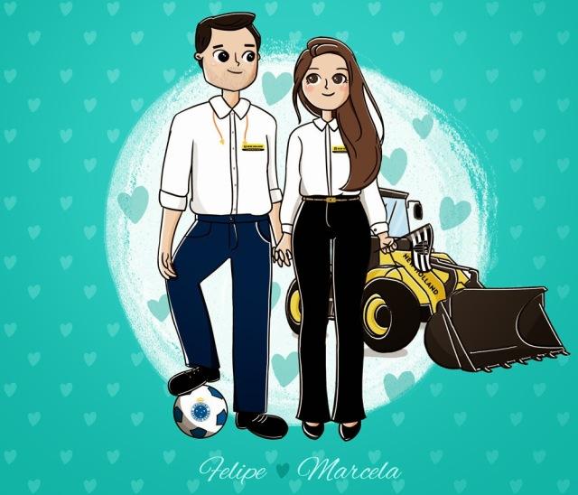 ilustração personalizada para casal, ilustração casamento, ilustradora Kênia Lopes, desenho fofo